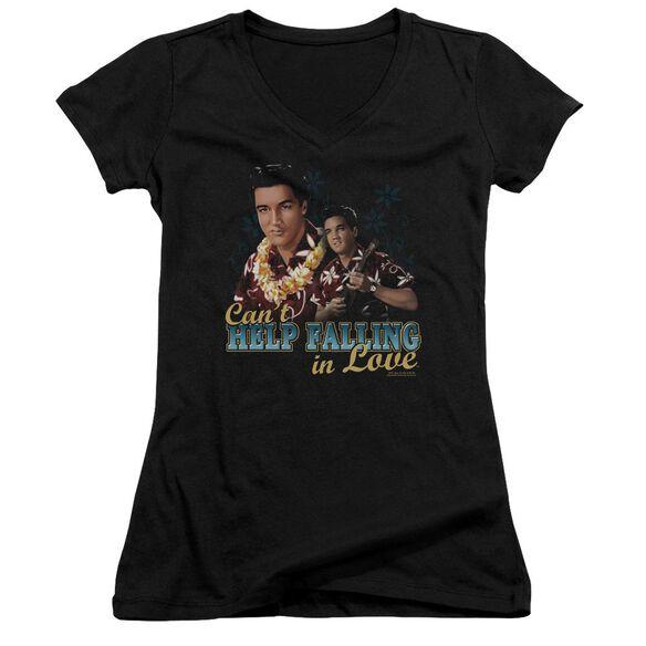 Elvis Can't Help Falling Junior V Neck T-Shirt