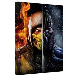 Mortal Kombat Fire And Ice Canvas Wall Art With Back Board