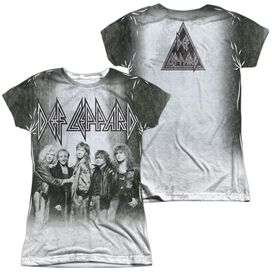 Def Leppard The Band (Front Back Print) Short Sleeve Junior Poly Crew T-Shirt