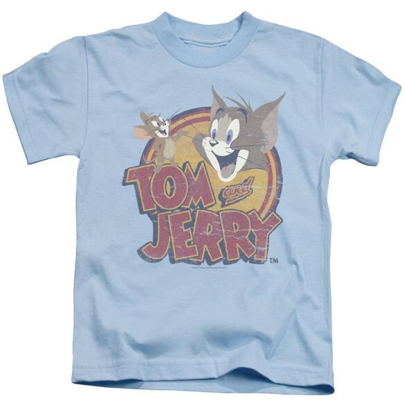 Tom And Jerry Water Damaged Short Sleeve Juvenile Light T-Shirt