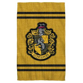Harry Potter Hufflepuff Stitch Crest Towel White