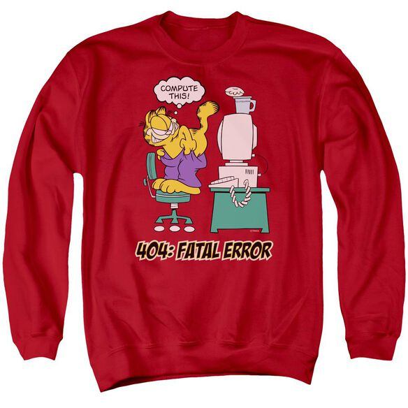 Garfield Compute This - Adult Crewneck Sweatshirt - Red
