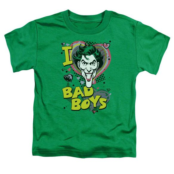 Dc I Heart Bad Boys 2 Short Sleeve Toddler Tee Kelly Green Md T-Shirt