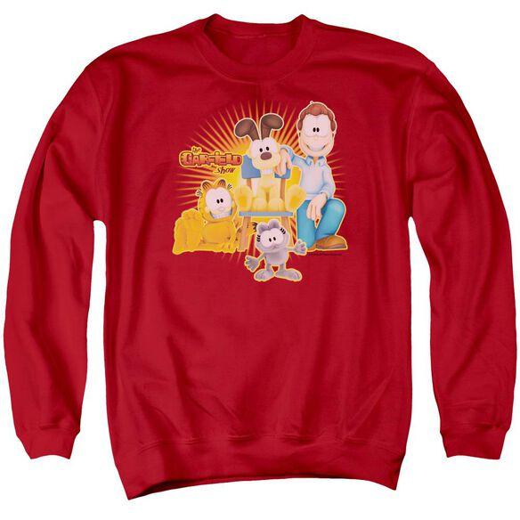 Garfield Say Cheese - Adult Crewneck Sweatshirt - Red