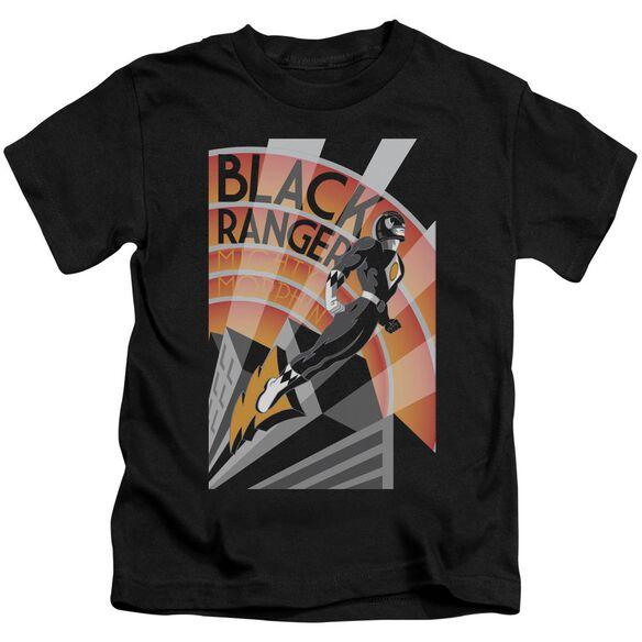 Power Rangers Black Ranger Deco Short Sleeve Juvenile Black T-Shirt