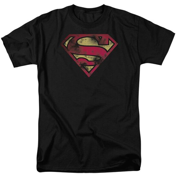 Superman War Torn Logo Short Sleeve Adult T-Shirt