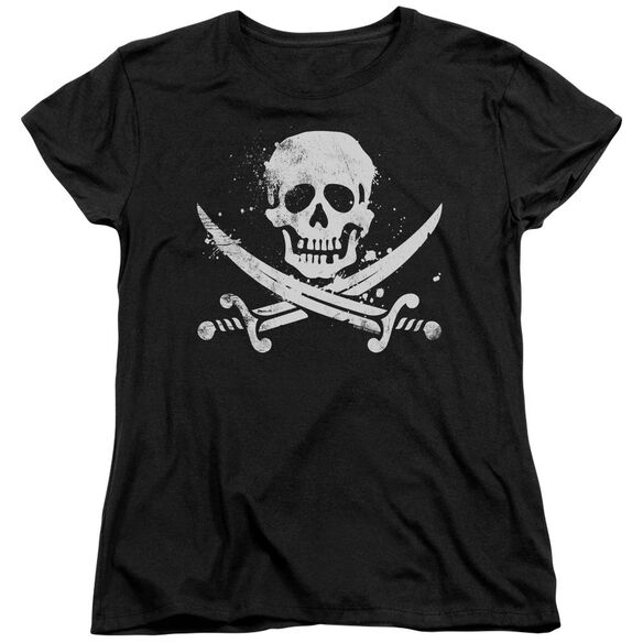 Distressed Jolly Roger Short Sleeve Womens Tee T-Shirt