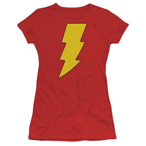 Dc Shazam Logo Short Sleeve Junior Sheer T-Shirt