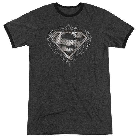 Superman Tribal Steel Logo - Adult Heather Ringer - Charcoal