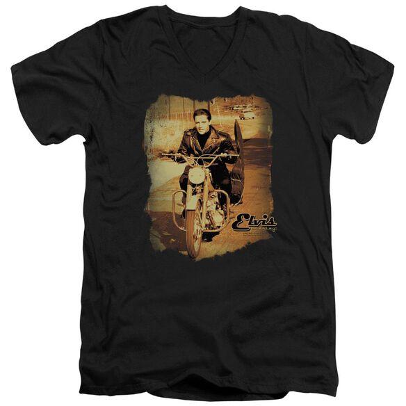 Elvis Hit The Road Short Sleeve Adult V Neck T-Shirt