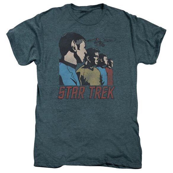 Star Trek Federation Men Short Sleeve Adult Premium Tee Steel Blue T-Shirt
