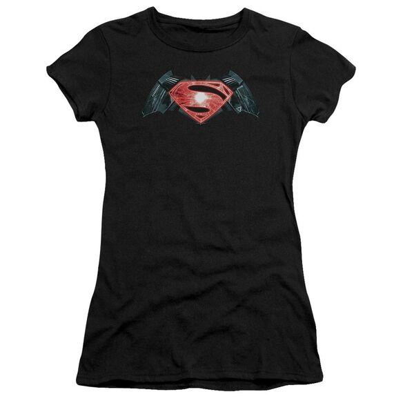 Batman V Superman Industrial Logo Short Sleeve Junior Sheer T-Shirt
