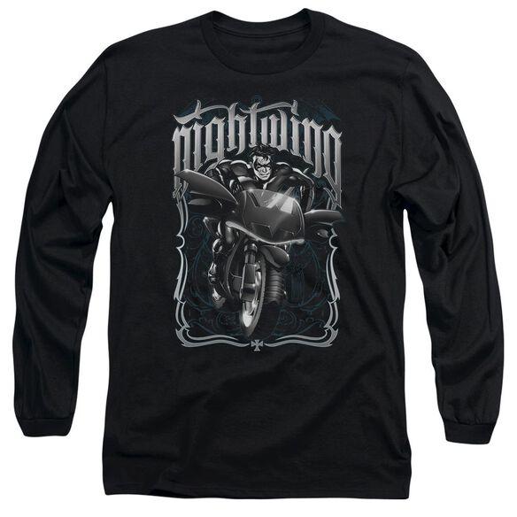 BATMAN NIGHTWING BIKER - L/S ADULT 18/1 - BLACK T-Shirt