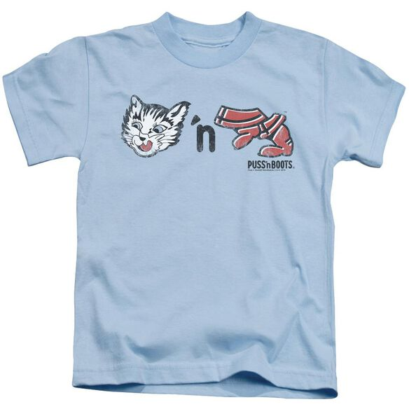 Puss N Boots Rebus Logo Short Sleeve Juvenile Light Blue T-Shirt