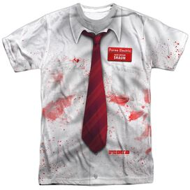 SHAUN OF THE DEAD BLOODY SHIRT - S/S ADULT 100% POLY CREW - WHITE T-Shirt