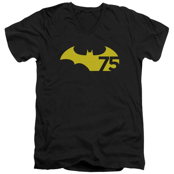 Batman 75 Logo 2 Short Sleeve Adult V Neck T-Shirt