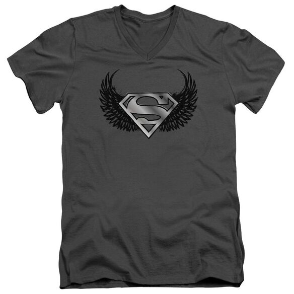 SUPERMAN DIRTY WINGS - S/S ADULT V-NECK - CHARCOAL T-Shirt