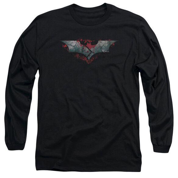 Dark Knight Rises Split & Crack Logo Long Sleeve Adult T-Shirt