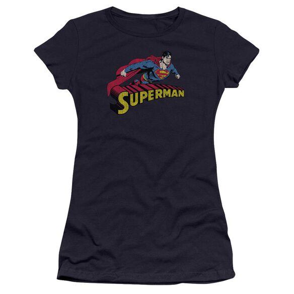 Superman Flying Over Premium Bella Junior Sheer Jersey