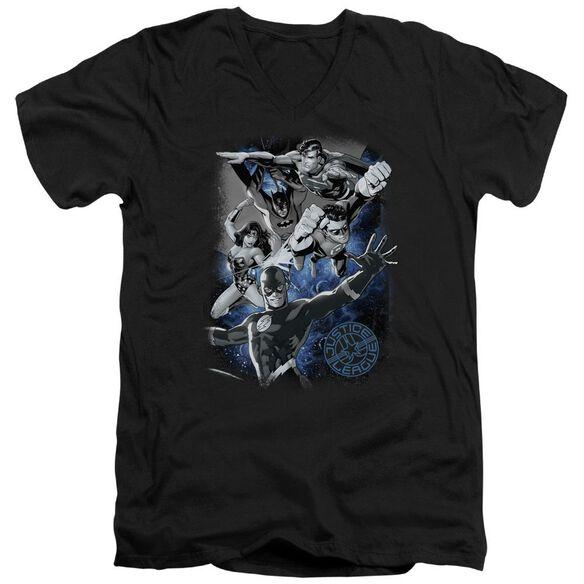 Jla Galactic Attack Nebula Short Sleeve Adult V Neck T-Shirt