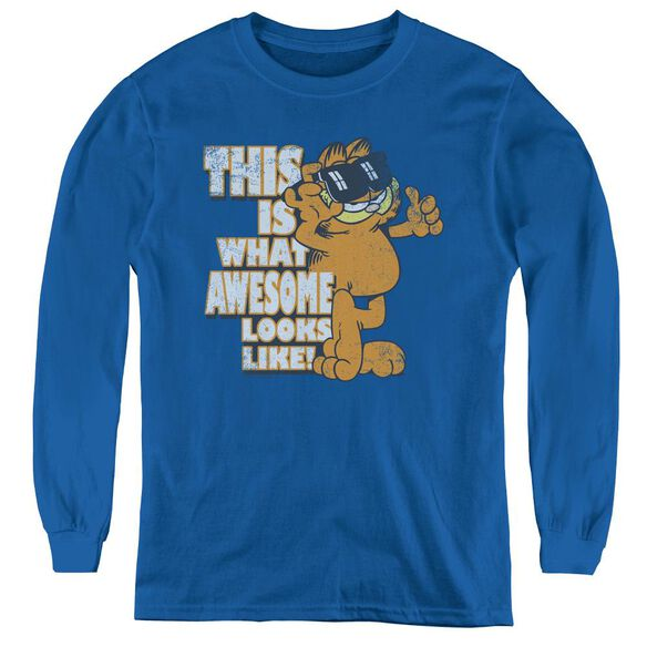 Garfield Awesome - Youth Long Sleeve Tee - Royal Blue