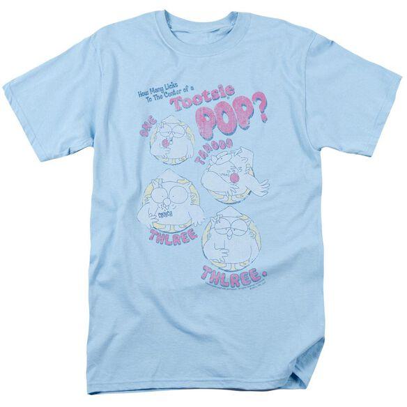 Tootsie Roll Three Short Sleeve Adult Light Blue T-Shirt