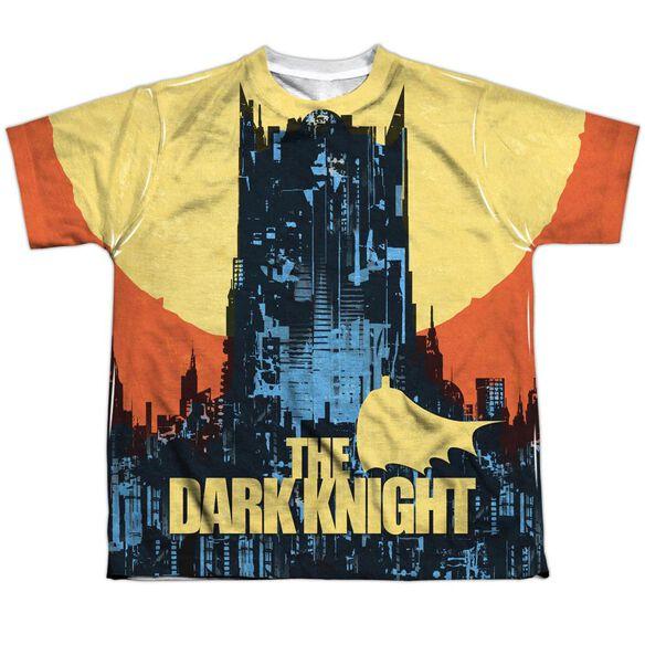 Batman Bat Building Short Sleeve Youth Poly Crew T-Shirt