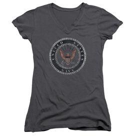 Navy Rough Emblem Junior V Neck T-Shirt