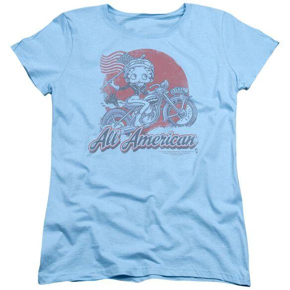 Betty Boop All American Biker Short Sleeve Womens Tee Light T-Shirt