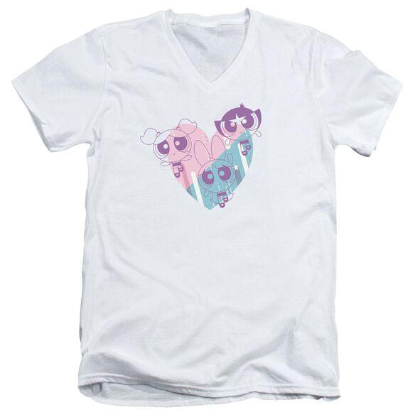 Powerpuff Girls Powerpuff Heart Short Sleeve Adult V Neck T-Shirt