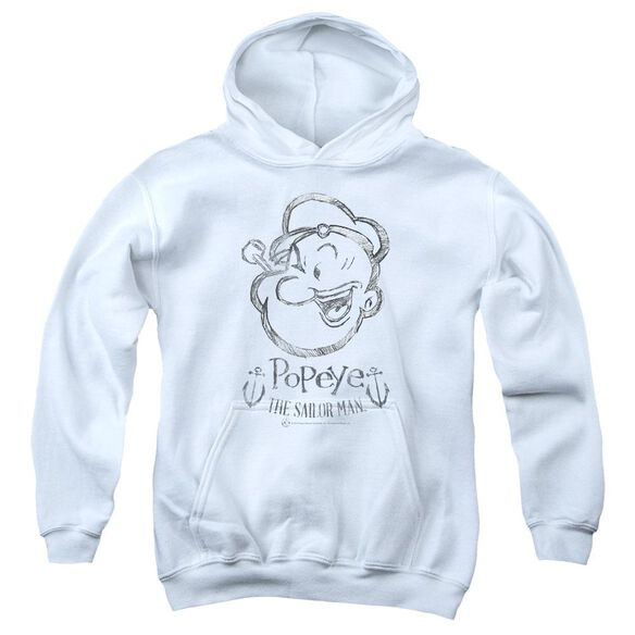 Popeye Sketch Portrait Youth Pull Over Hoodie