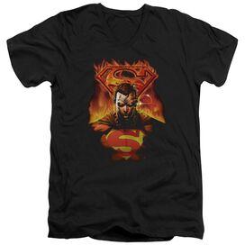 SUPERMAN MAN ON FIRE - S/S ADULT V-NECK T-Shirt