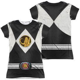 Power Rangers Black Ranger Uniform (Front Back Print) Short Sleeve Junior Poly Crew T-Shirt