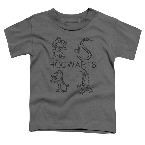 Harry Potter Literary Crests Short Sleeve Toddler Tee Charcoal T-Shirt