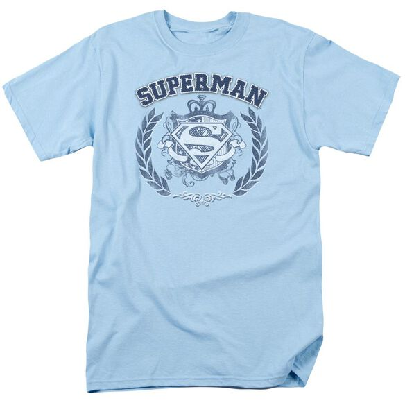 Superman Collegiate Crest Short Sleeve Adult Light Blue T-Shirt