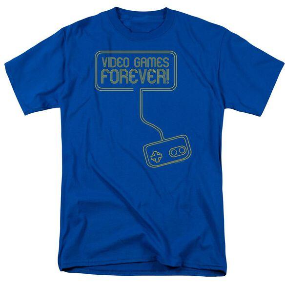 Video Games Forever Short Sleeve Adult Royal Blue T-Shirt