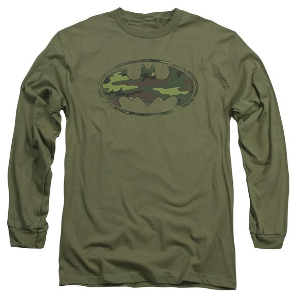 Batman Distressed Camo Shield Long Sleeve Adult Military T-Shirt