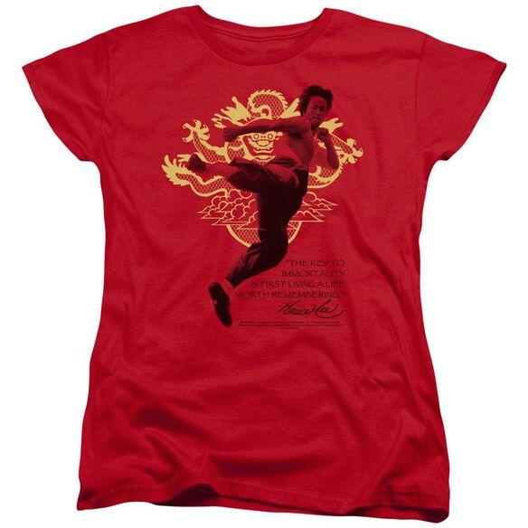 Bruce Lee Immortal Dragon Short Sleeve Womens Tee T-Shirt