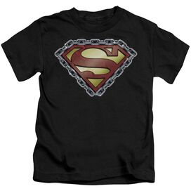 Superman Chained Shield Short Sleeve Juvenile Black T-Shirt