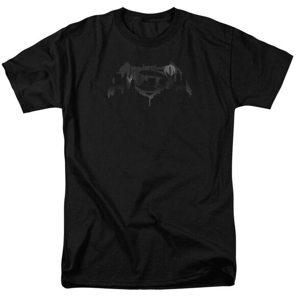 Batman V Superman Cityscape Logo Short Sleeve Adult Black T-Shirt