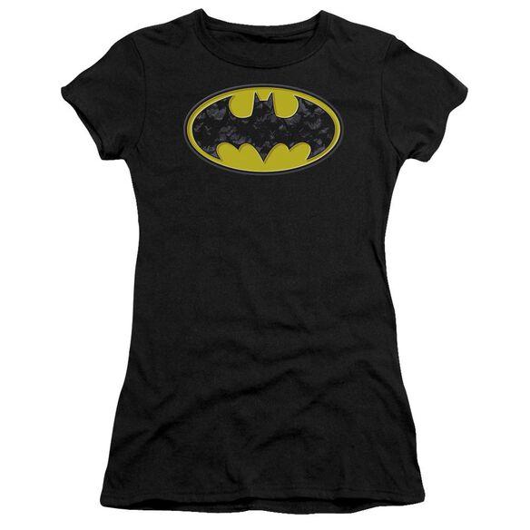 Batman Bats In Logo Short Sleeve Junior Sheer T-Shirt