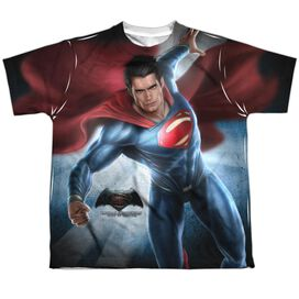 Batman V Superman Superman Light Short Sleeve Youth Poly Crew T-Shirt