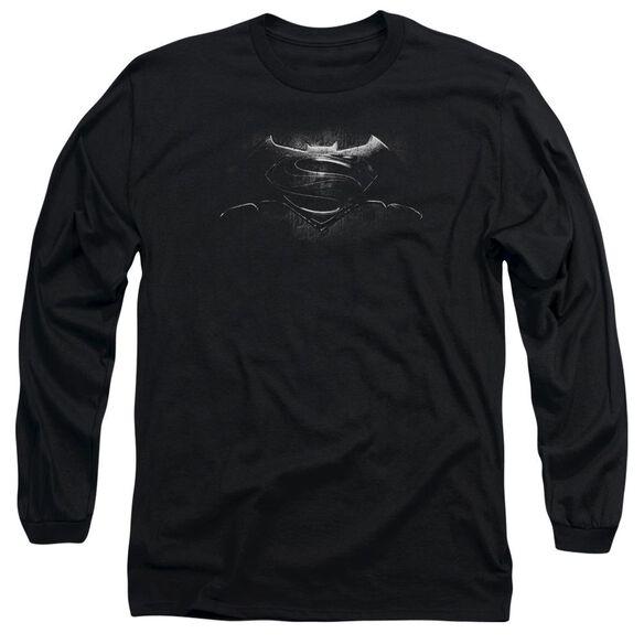 Batman V Superman Bw Logo Long Sleeve Adult T-Shirt
