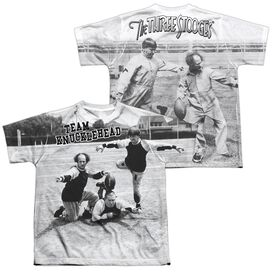 Three Stooges Team Knucklehead (Front Back Print) Short Sleeve Youth Poly Crew T-Shirt