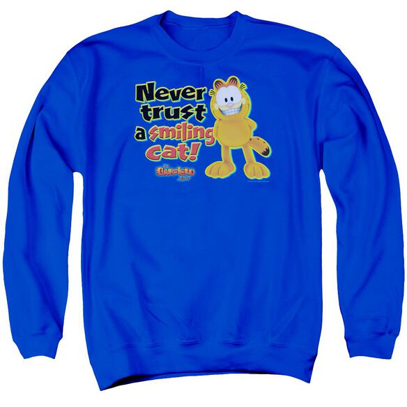 Garfield Smiling Adult Crewneck Sweatshirt Royal