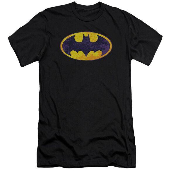 BATMAN BM NEON DISTRESS LOGO - S/S ADULT 30/1 - BLACK T-Shirt