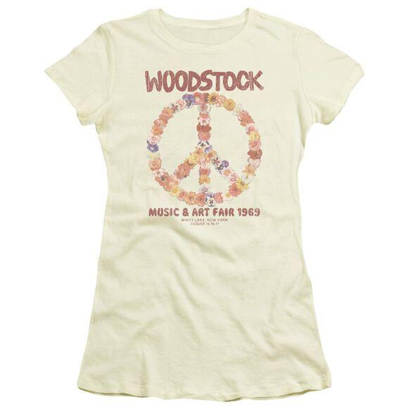 Woodstock Floral Peace Short Sleeve Junior Sheer T-Shirt