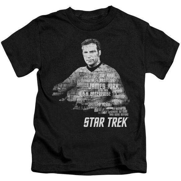 Star Trek Kirk Words Short Sleeve Juvenile Black Md T-Shirt