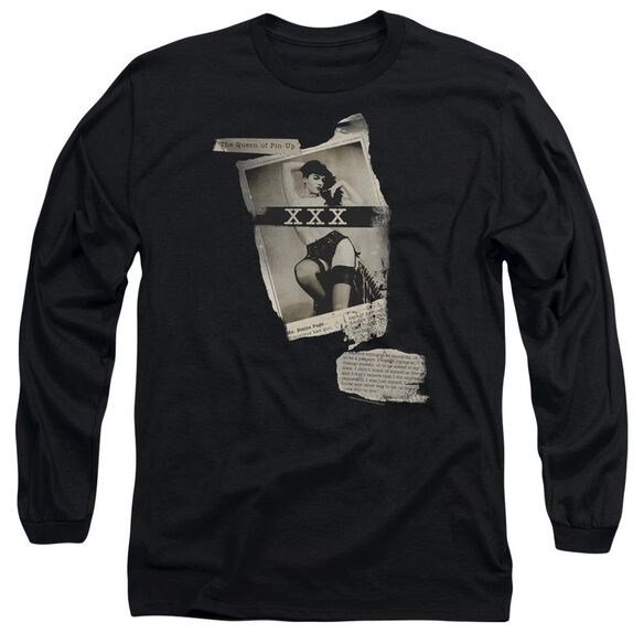 Bettie Page Newspaper & Lace Long Sleeve Adult T-Shirt