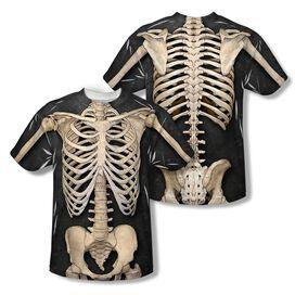 Skeleton Costume (Front Back Print) Short Sleeve Adult Poly Crew T-Shirt